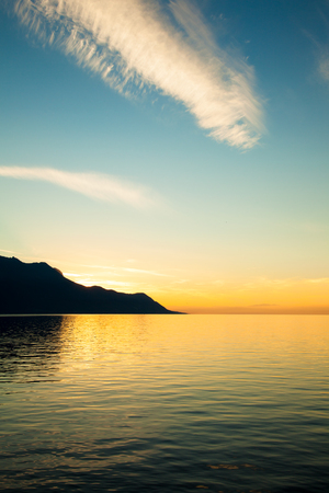 leman: Beautiful sunset on Leman Lake in Montreux  Switerland Stock Photo