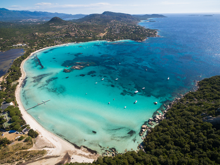 Aerial  view  of Santa Giulia beach in Corsica Island in France Stock Photo