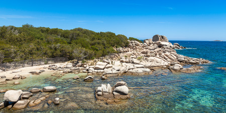 paradise bay: Palombaggia beach in Corsica Island in France Stock Photo