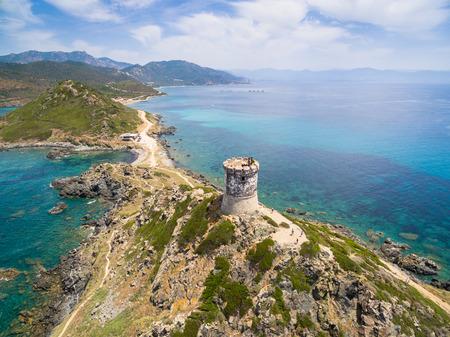 코르시카, 프랑스에서 Sanguinaires 피에 굶주린 섬의 공중보기 스톡 콘텐츠