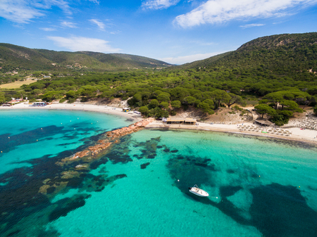 Aerial view of Palombaggia beach in Corsica Island in France Stock Photo