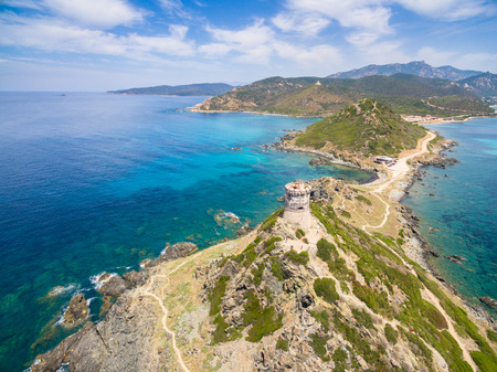 littoral: Aerial view of Sanguinaires bloodthirsty Islands in Corsica, France