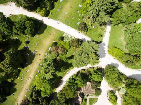 milánó: Aerial view of Sempione park in Milan, Italy