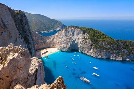 Navagio beach from  Shipwreck cliff view in Zakynthos (Zante) island, in Greece