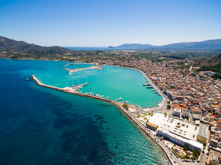 Vista aérea de la ciudad de Zakynthos en la isla de Zante, en Grecia Foto de archivo - 84343672