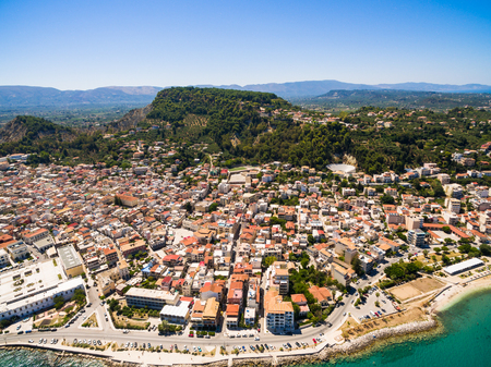 ionian: Aerial  view of Zakynthos city in  Zante island, in Greece