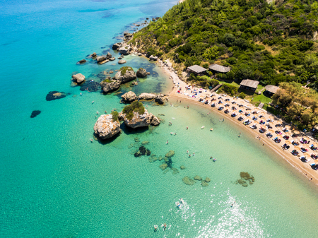 Aerial  view of Porto Zorro  Azzurro beach in Zakynthos (Zante) island, in Greece Stock Photo