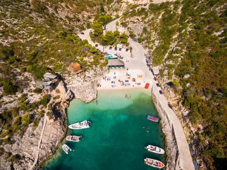 Aerial  view of Porto Vromi beach in Zakynthos (Zante) island, in Greece Stock Photo