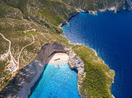Aerial  view of Navagio beach Shipwreck in Zakynthos (Zante) island, in Greece Stock Photo