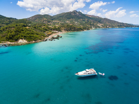 Aerial  view of a boat mooring in Porto Zorro  Azzurro beach in Zakynthos (Zante) island, in Greece Stock Photo