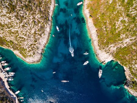 ionian: Aerial  view of Porto Vromi beach in Zakynthos (Zante) island, in Greece Stock Photo