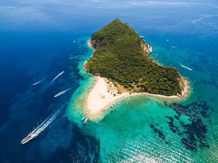 Aerial view of Marathonisi Island in Zakynthos (Zante) island, in Greece