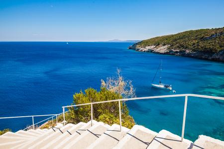 ionian: View of  Agios Nikolaos blue caves  in Zakynthos (Zante) island, in Greece Stock Photo