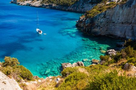 View of  Agios Nikolaos blue caves  in Zakynthos (Zante) island, in Greece Stock Photo