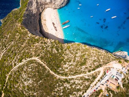 Aerial  view of Navagio beach Shipwreck view in Zakynthos (Zante) island, in Greece