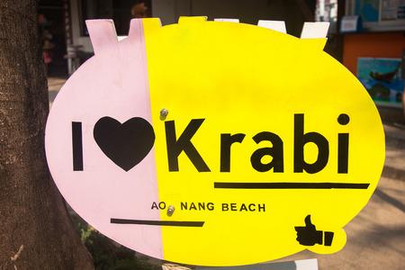 I love Krabi sign in Ao Nong city , Krabi Thailand
