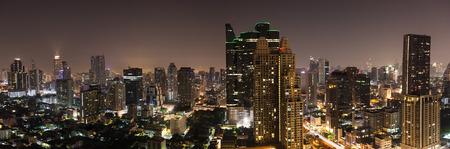 Bangkok aerial skyline view at night - Thailand