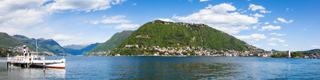 Panoramic view of Como city and lake near Milan - Italy