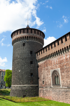Sforza castello castle in  Milan city in Italy Stock Photo