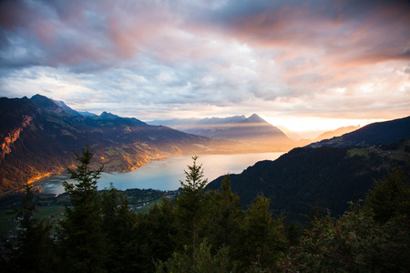 Sunset view of Thun lake in Interlaken from Harder Kulm observation point in Switzerland