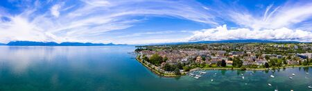 Panoramic aerial view of Morges city waterfront in the border of the Leman Lake in  Switzerland