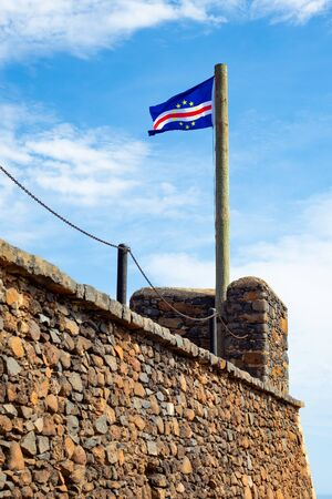 Cape verde flag  floating  in Cidade Velha old fort  in Santiago - Cape Verde - Cabo Verde