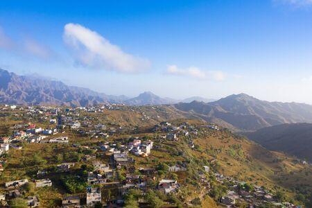 Aerial view of Rebeirao Manuel in Santiago island in Cape Verde - Cabo Verde 写真素材