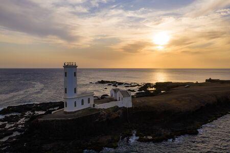 Aerial view of Praia Dona De Maria Pia lighthouse in Santiago - Capital of Cape Verde Islands - Cabo Verde