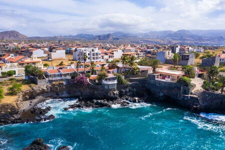 Aerial view of Tarrafal coast (ponta de atum) in Santiago island in Cape Verde - Cabo Verde Stock Photo