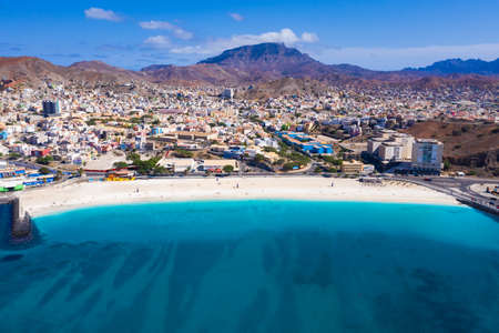 Aerial view of Laginha beach in Mindelo city in Sao Vicente Island in Cape Verde Stock Photo