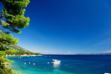 Beautiful Summer Adriatic Sea coastline view with pine and yacht, island Brac, Croatia