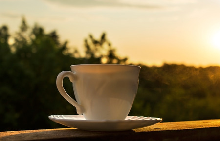 Morning cup of hot coffee ot tea on rustic nature background at sunrise Stock Photo