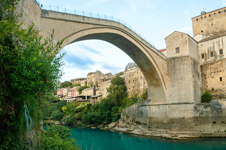 Mostar bridge with river in old town. Bosnia and Herzegovina, Europe