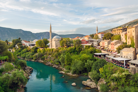 Mostar mosque with river in old town. Bosnia and Herzegovina. view from the bridge Stock Photo