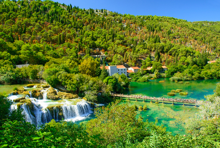 Waterfalls Krka, National Park in Dalmatia region, Croatia. aerial view