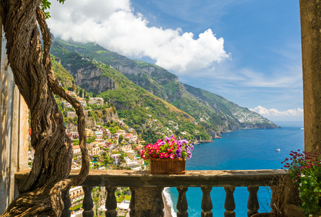 beautiful view of the town of Positano from antique terrace with flowers, Amalfi coast, Italy. balcony with flowers Banque d'images
