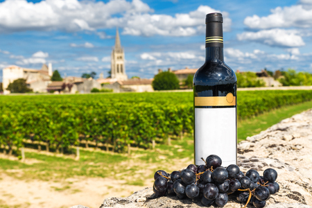 bottle of red wine against the background of vineyards of Saint Emilion, Bordeaux, France in a sunny day
