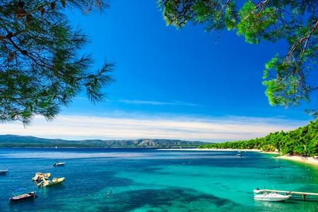 Beautiful beach Zlatni rat in Bol, Island Brac, Croatia. summer holidays destination Stok Fotoğraf