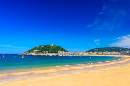 La Concha beach at San Sebastian Donostia, Spain. Best european beach in sunny day