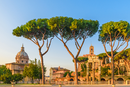 view on Roman Forum in Rome, Italy. Roma landmark and antique architecture at sunrise