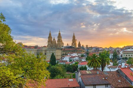 Aerial view on Santiago de Compostela old town with cathedral, Galicia, Spain in sunrise