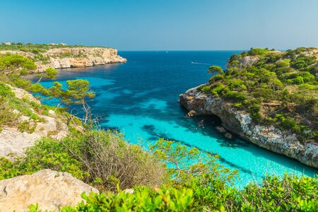 Majorca Calo des Moro Santanyi beach in Mallorca Balearic Island of Spain in sunny day