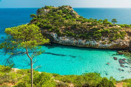Calo des Moro, Mallorca. Spain. One of the most beautiful beaches in Mallorca in sunny day