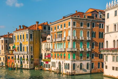 Grand Canal with beautiful colorful building facades in Venice, Italy, Veneto