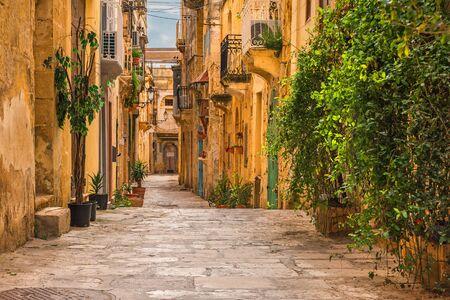 Valletta, Malta. Old medieval empty street with yellow buildings and flower pots in Birgu Stok Fotoğraf