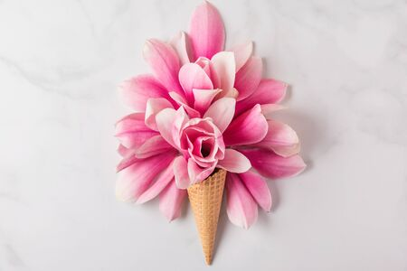 Ice cream cone with spring pink magnolia flowers composition on white background. Minimal spring concept. Flat lay. top view Stok Fotoğraf