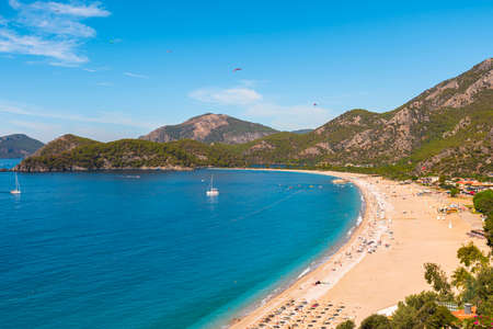 Panoramic view of Oludeniz beach and Blue Lagoon in Turkey. Summer holiday travel destination. Best Turkey beach Imagens