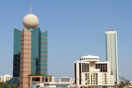 Verenigde Arabische Emiraten: Gebouwen in Fujairah City - Verenigde Arabische Emiraten Stockfoto