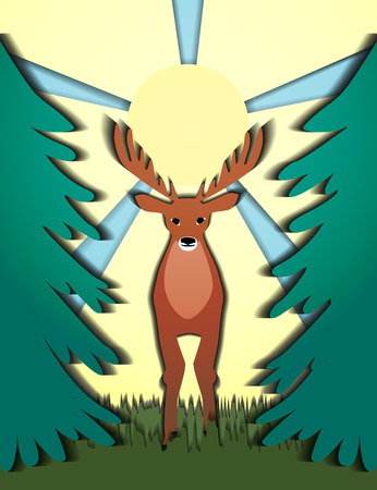 Deer watching the forest sun behind the horns