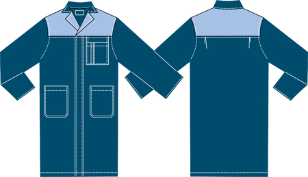 Vector drawing of model of a working  gown.